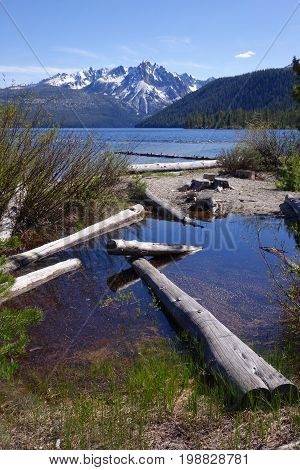 Redfish Lake during high-water year in Idaho's Sawtooth Mountains.