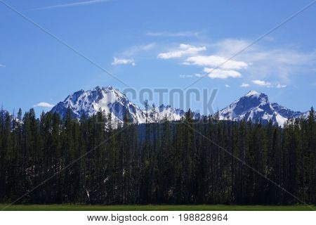 Idaho's beautiful and rugged Sawtooth Mountains, near Stanley.