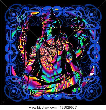 The Lord Shiva is a psychedelic painting in a retro style. Popular vintage graphics postcard and posters from the 1960s to the 1980s. Art Nouveau and Hippie art. Goa trance art. Design of T-shirts