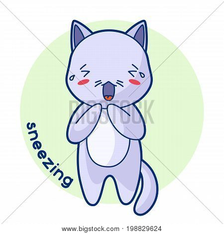Sneezing sick cute kitten. Illustration of kawaii cat.