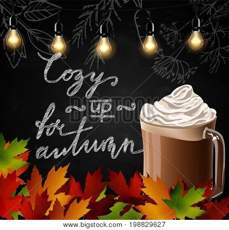 Chalkboard with autumn leaves and cup Hot chocolate vector
