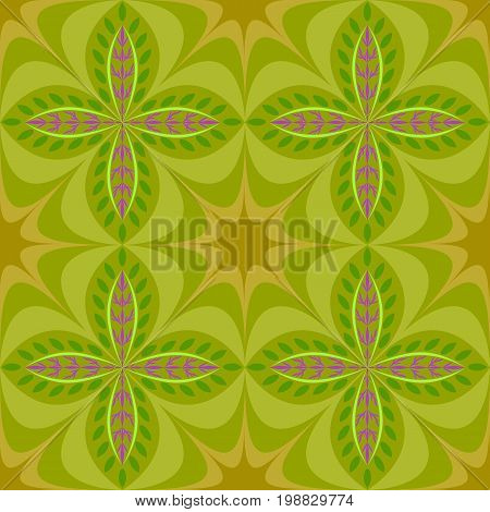 Geometrical pattern with abstract flowers in green and purple color, seamless vector background. For fashion textile, cloth, backgrounds.
