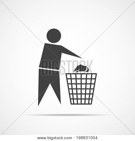 Trash bin or trash can with human figure. Black trash icon isolated on light background. Vector illustration
