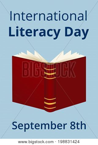 International Literacy Day. Poster with opened book
