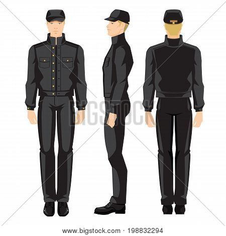 Vector illustration of worker man in uniform isolated on white background. Various turns man's figure. Front view , side and back view.