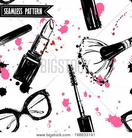 Seamless makeup cosmetics pattern. Vector hand drawn graphic fashion illustration: glasses brush makeup brush lipstick Brush of Mascara mascara. Seamless pattern With pink and black ink sprays.