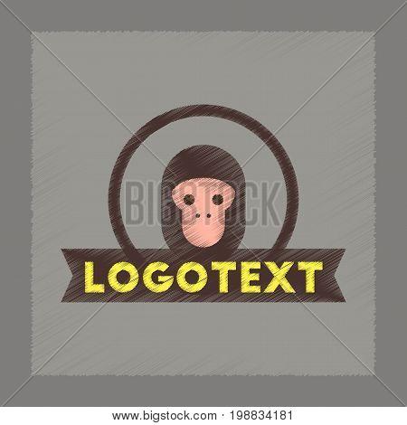 flat shading style icon of monkey logo