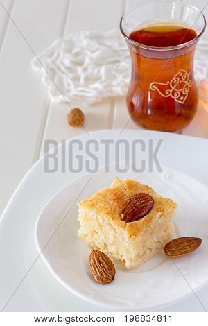 Piece Basbousa Traditional Arabic Semolina Cake With Nuts Orange Blossom Water Vertical Copy Space W