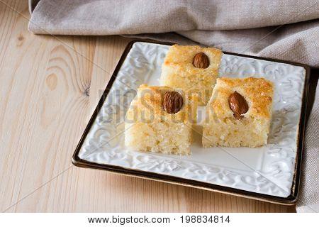 Basbousa (namoora) Traditional Arabic Semolina  Cake With Almond And Syrup