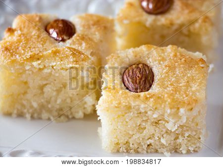 Three Pieces Basbousa (namoora) Traditional Arabic Semolina  Cake With Nut Almond And Syrup. Copy Sp