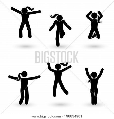 Stick figure happiness freedom jumping motion set. Vector illustration of celebration poses pictogram