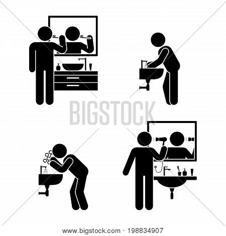 Personal hygiene bathroom set. Vector illustration of teeth brushing washing hands and face hair drying pictogram