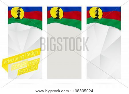 Design Of Banners, Flyers, Brochures With Flag Of New Caledonia.