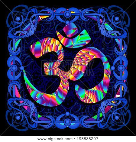 The symbol OM is a psychedelic painting in a retro style. Popular vintage graphics postcard and posters from the 1960s to the 1980s. Art Nouveau and Hippie art. Goa trance art. Design of T-shirts poster