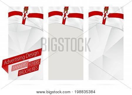 Design Of Banners, Flyers, Brochures With Flag Of Northern Ireland.