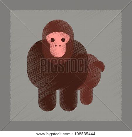 flat shading style icon of Cartoon monkey