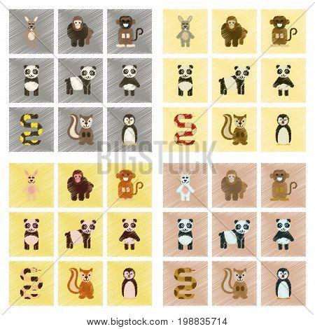 assembly flat shading style icons of Panda monkey rabbit snake squirrel penguins