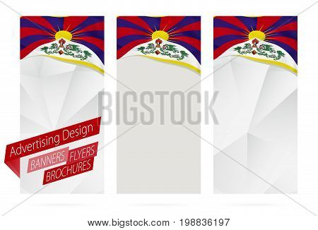 Design Of Banners, Flyers, Brochures With Flag Of Tibet.