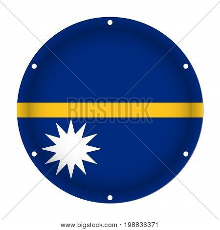 round metallic flag of Nauru with six screw holes in front of a white background