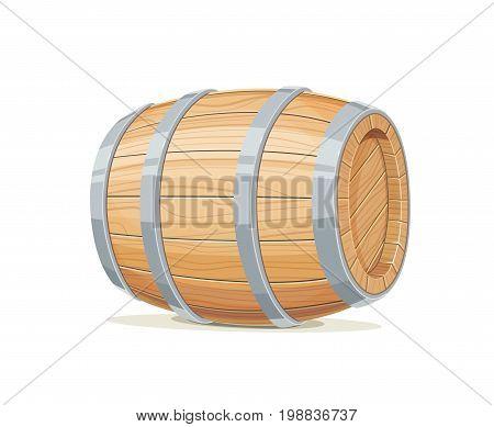 Horizontal Wooden barrel for wine or beer. Container beverage. Vintage oak Cask. Isolated white background. Vector illustration.