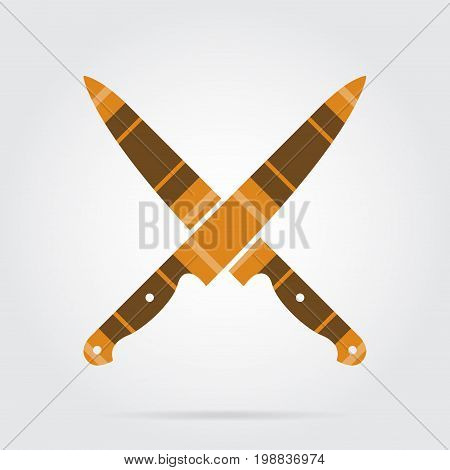 orange black isolated tartan icon with white stripes - two crossed kitchen knives and shadow in front of a gray background