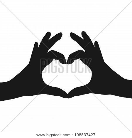 Hands making or formatting a heart symbol silhouette. Vector stock.