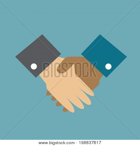 Business handshake. Team work together. Cultural and ethnic diversity. Vector stock.