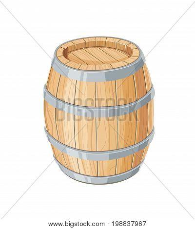 Vertical Wooden barrel for wine or beer. Container beverage. Vintage oak Cask. Isolated white background. Vector illustration.