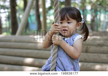 Japanese Girl Playing With Flying Fox (2 Years Old)