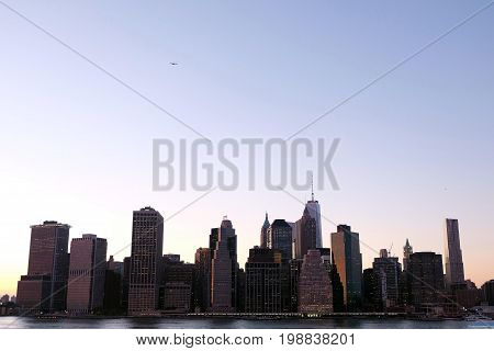 Magnificent New York skyline as seen from the Brooklyn Heights Promenade