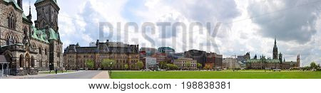 OTTAWA, CANADA - MAY 15, 2012: Panorama of Square in front of Parliament Buildings in downtown Ottawa, Ontario, Canada.
