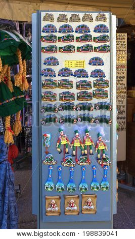 Salzburg, Austria - May 01, 2017: Souvenir magnets for sale in the old town of Salzburg at Austria on May 01, 2017