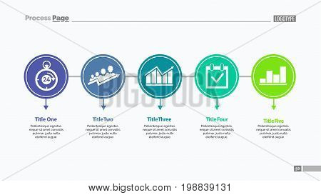 Five options process chart slide template. Business data. Step, diagram, stage. Creative concept for infographic, presentation. Can be used for topics like management, strategy, teamwork.