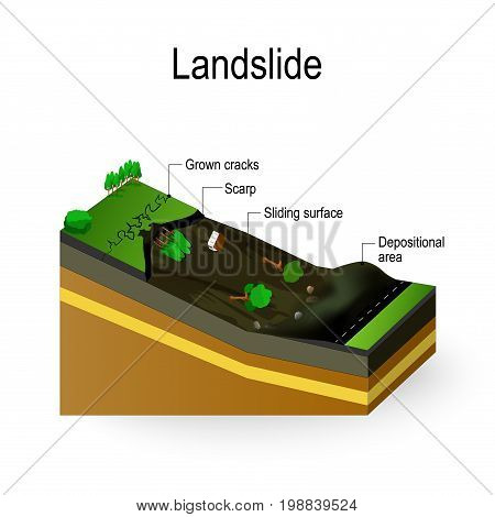 Landslide Diagram. landslip is Debris Flow surges down a in response to gravitational processes or man-made factors.