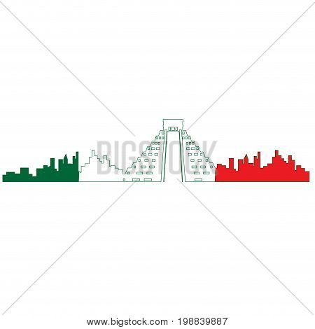 Isolated cityscape of Mexico City with the flag of Mexico, Vector illustration