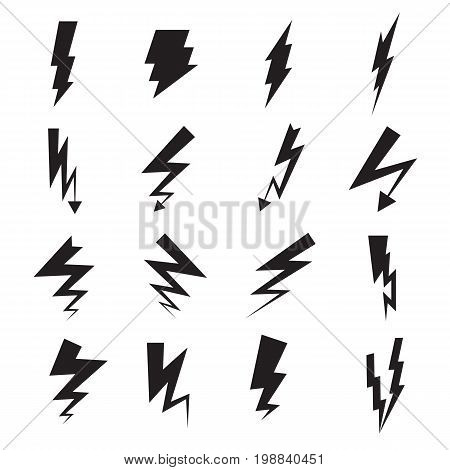 Lightning bolt icons. Collection of 16 black lightning bolt symbols isolated on a white background. Vector illustration