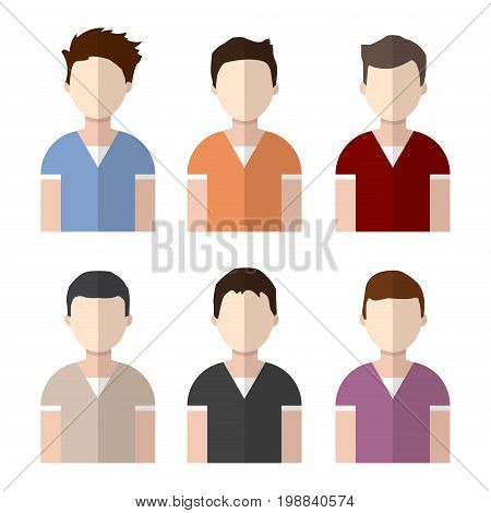 Man avatar set businessman portrait character person vector male face icon illustration. Business human man avatar flat people head.