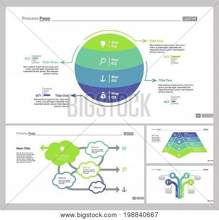Infographic design set can be used for workflow layout, diagram, annual report, presentation, web design. Business and management concept with process, flow and percentage charts.