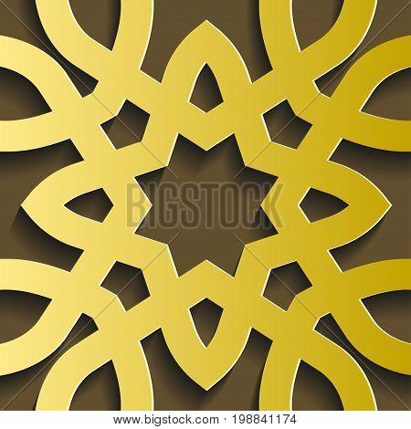 Islamic ornament vector illustration. Circular 3d ramadan round pattern. Persian motif.