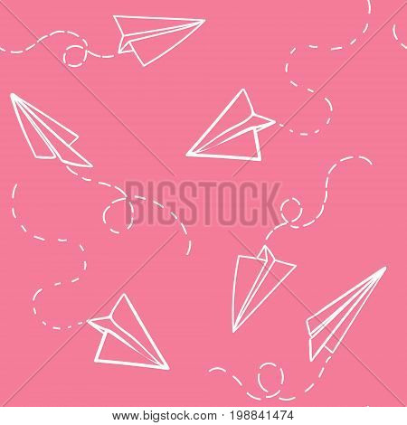 Seamless pattern with vector paper airplane. Travel, route symbol. Vector illustration of  background with hand drawn paper plane. Outline. Hand drawn doodle airplane. Black linear paper plane icon.