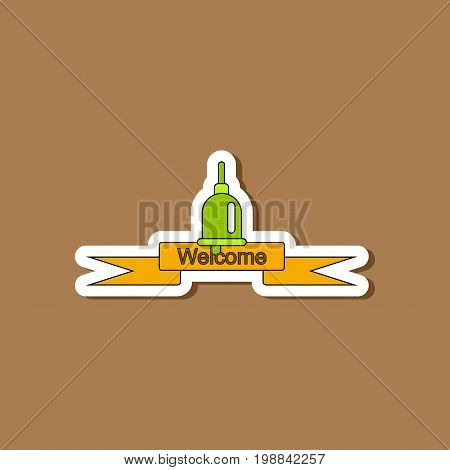 paper sticker on stylish background of school bell