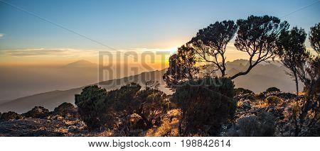 Mount Meru view from Kilimanjaro Machame route trail Tanzania