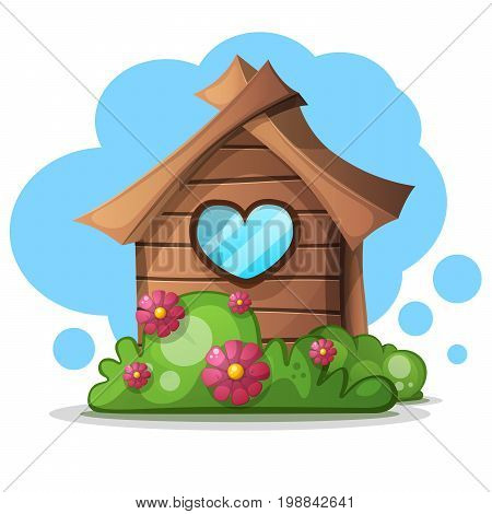 Wood cartoon house bush. Bush and flower icon. Vector eps 10