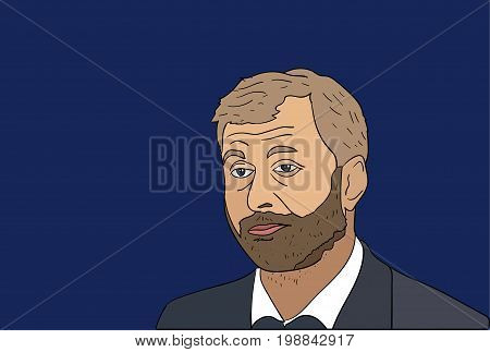 8 Aug, 2017: Russian billionaire and Chelsea FC owner Roman Abramovich and his wife separate. Roman Abramovich vector portrait