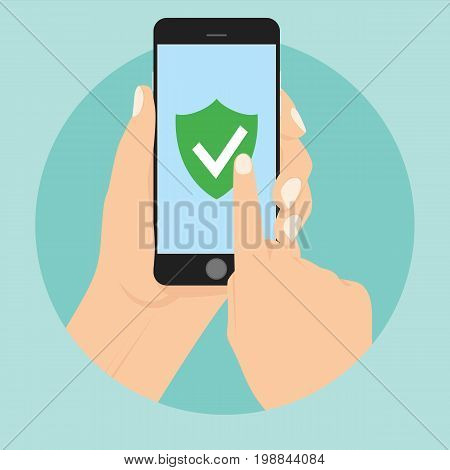 Green Shield on smartphone screen. Hand holds the smartphone and finger touches screen. Modern Flat design illustration. Mobile phone security shield protection data flat.