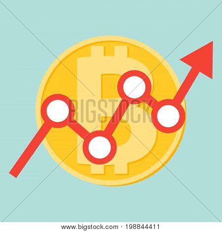 Flat icon design of uptrend line arrow breaking through bitcoin sign on blue color background. Uptrend line arrow with bitcoin sign in flat icon design. Uptrend line arrow breaking through bitcoin