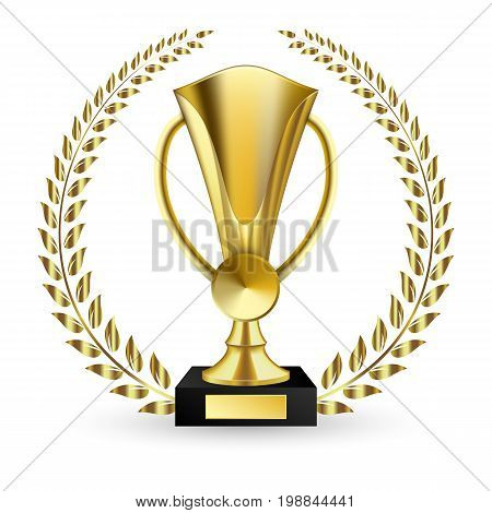 Vector illustration of gold shiny trophy and laurels. Beautiful golden trophy cup of different shape realistic isolated on white background vector illustration