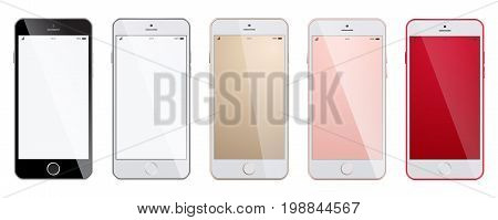 New realistic smartphones set mockups isolated on white background. Realistic, modern, mobile smart phone collection on isolated background. High Detailed Realistic Smartphone with Blank Screen