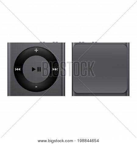 Portable media player. Collection modern trend concept design style vector illustration symbol. Vector illustration of Mp3 media player. mp3 media player with display and with the headphones isolated.