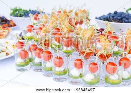 Beautifully Decorated Catering Banquet Table